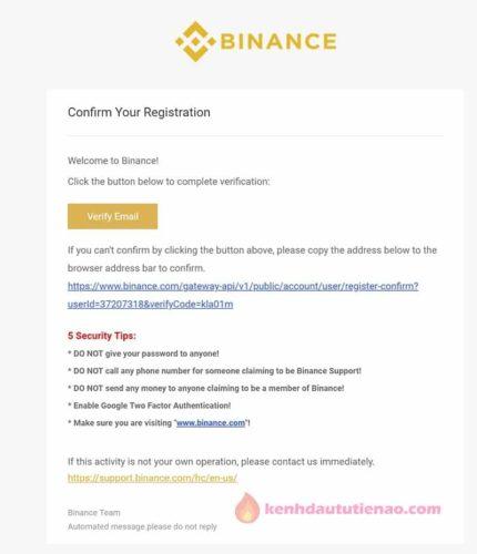 """Ấn vào """"Verify Email"""" để hoàn tất đăng ký"""
